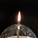 Lampe à huile verre et laiton, boule