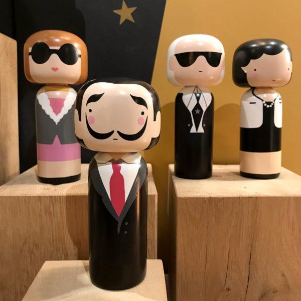 Salador dali Karl lagerfeld figurine bois lucie kaas