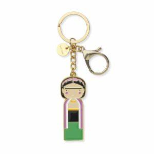 Porte clef, frida kahlo en laiton, lucie kaas