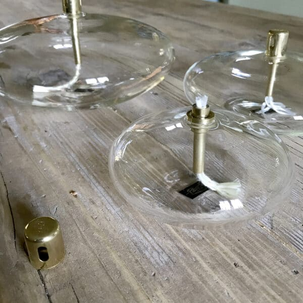 Lampe à huile disque ou galet en verre et laiton Paraffine