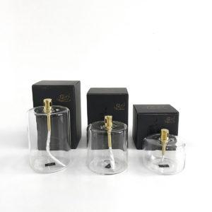Bougie sans odeur lampe à huile transparente