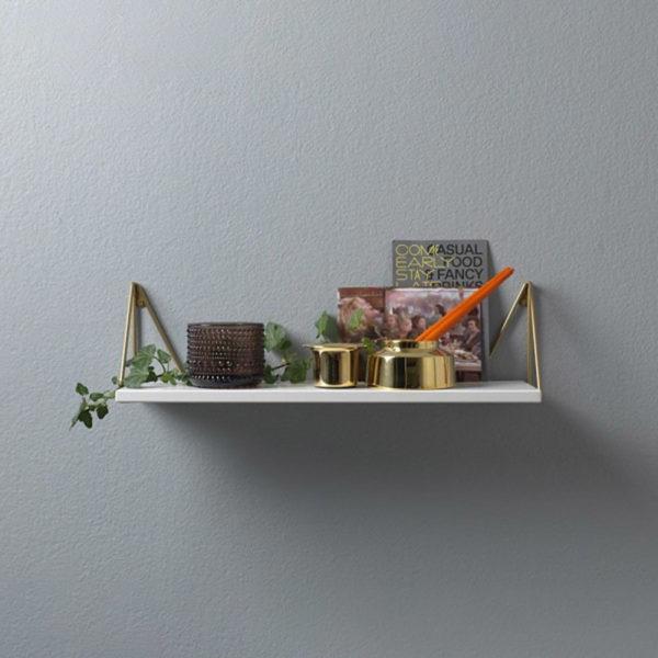 Petite étagère murale blanc laiton Pythagoras XS
