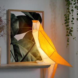 Lampe en papier perroquet jaune et blanc DIY owl made in Portugal