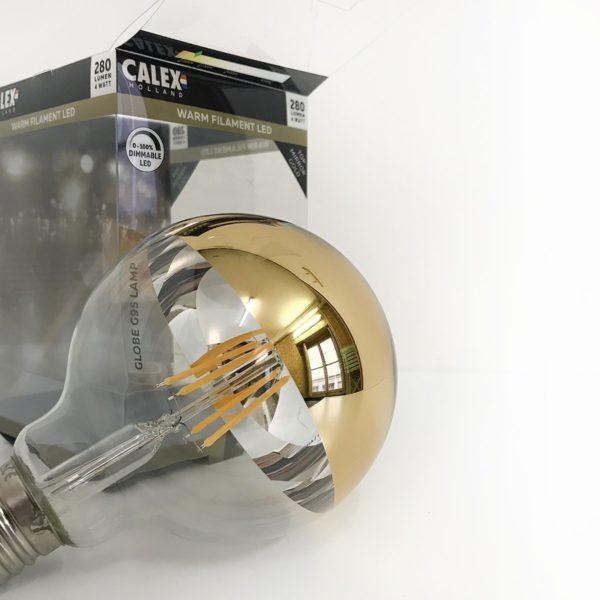 Ampoule filament led, calotte miroir or doré, dimmable