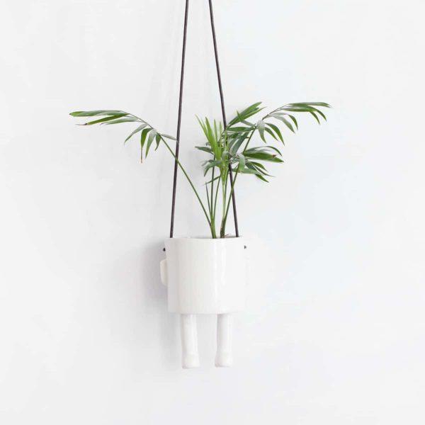 Cache pot original artisanal, hanging blanc Madriguera Workshop