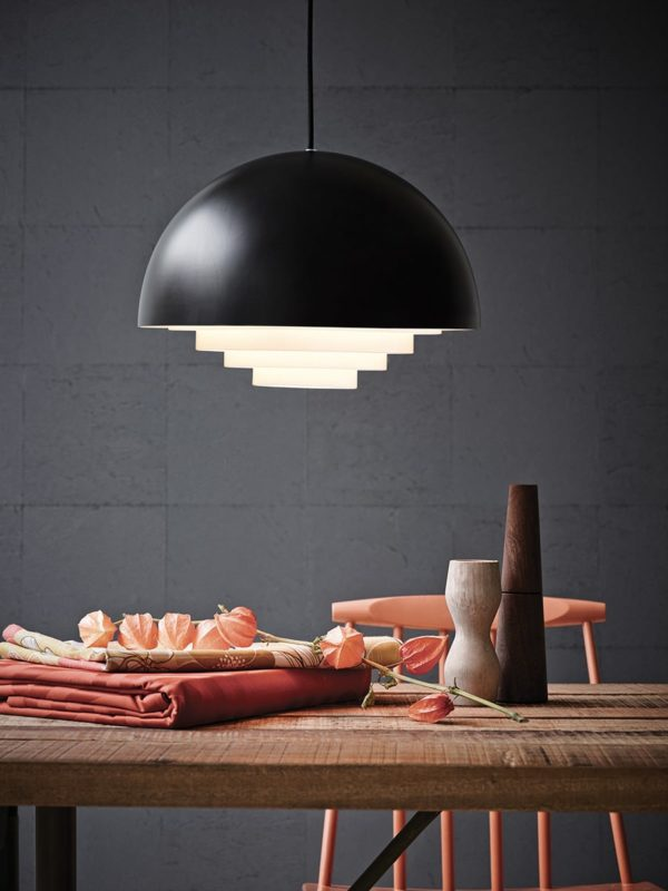 Suspension demi sphère, Motown noir Belid Herstal, design scandinave