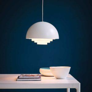 Suspension demi sphère, Motown blanc Belid Herstal, design scandinave