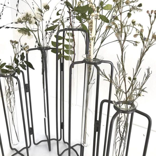 Vase éprouvette 5 tubes à essai, structure articulée en métal