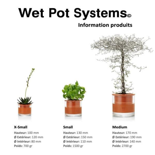 Dimensions pot WETPOT à réservoir d'eau en verre et ceramique