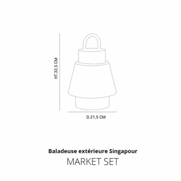 Baladeuse exterieure tissu et cannage Marketset Singapour Outdoor dimensions