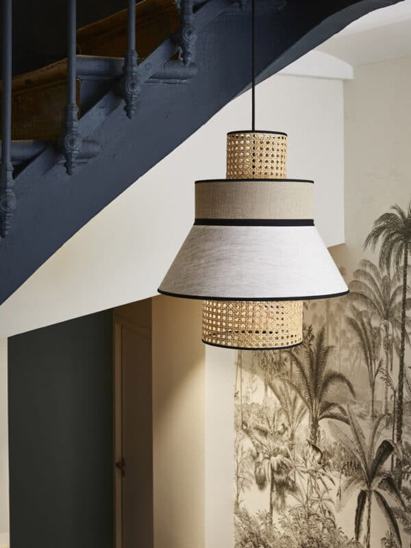 Suspension luminaire cannage en lin lave nude marketset made in france